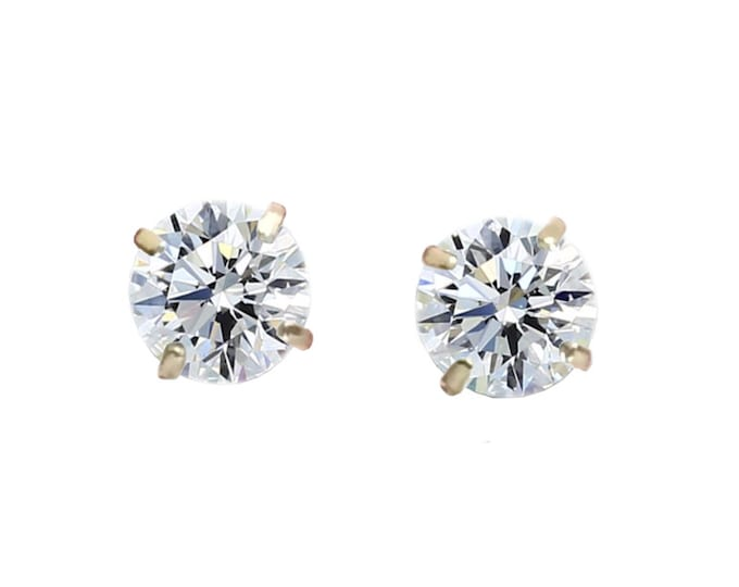 A 1/2 TCW Pair of Round Brilliant Diamond Studs By C. L. Lewis in 14K Yellow Gold - Screw Backs (IDEAL-H-VVS2) + GIA Diamond Dossier's #C80