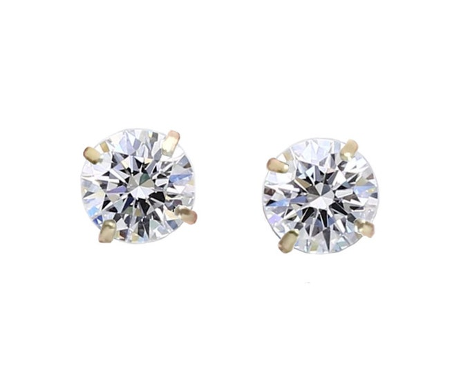A 1/2 TCW Pair Of Round Brilliant Diamond Stud Earrings In Yellow Gold By C. L. Lewis, Screw-Backs (IDEAL-VS2-G)+GIA Diamond Dossier's #C79