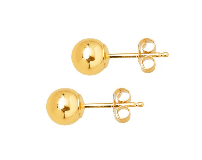 A Pair of Chic 5mm Beads In 14k White or Yellow Gold by C. L. Lewis - Polished Ball-Bead Stud Earrings w/ Butterfly Backs #C56