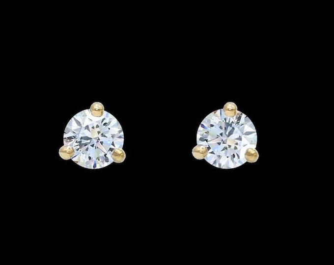 Martini Diamond Stud Earrings in 14k Gold or Platinum (0.10-0.50tcw)