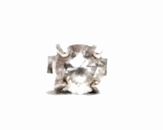 A Stunning Single Square Cut cz Diamond Stud Earring / Sterling Silver, w/ Butterfly Back, .71 Grams #3411