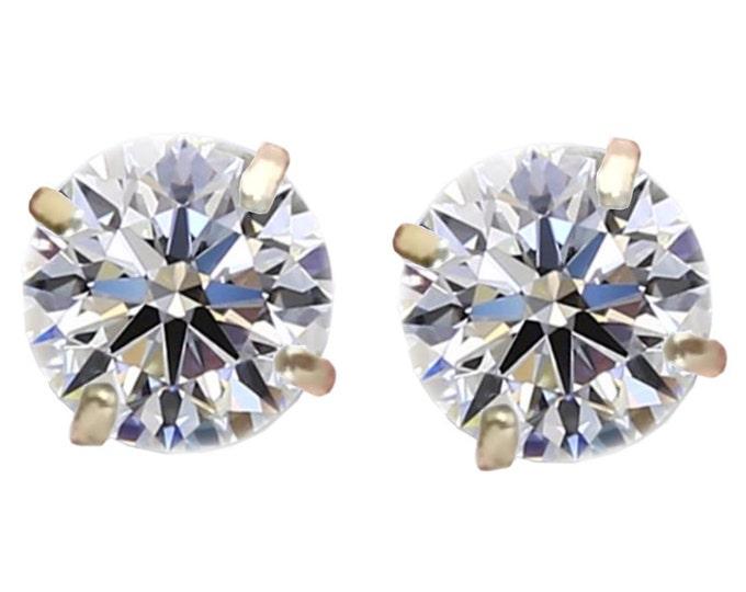 1.00 TCW Round Brilliant Diamond Stud Earrings in 14K Yellow Gold by C. L. Lewis, Screwbacks (IDEAL-J-SI2)+GIA Diamond Dossier's #C82