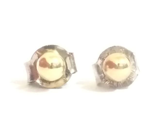 """A Pair of Cute Mid-Century Ball Stud Earrings / 14K Yellow Gold, .5"""" Post, Sterling Butterfly Backs, .3 Grams #4200"""