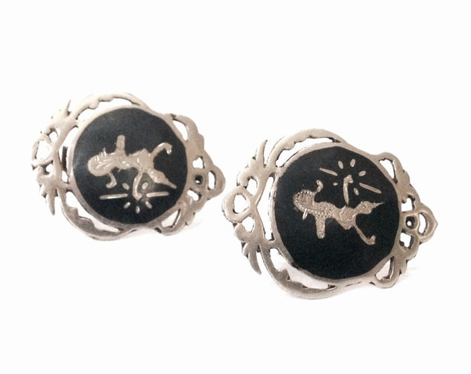 "An Elegant Pair of 1930's Siamese Niello Inlaid Dancer Clip-On Earrings / Sterling Silver, 1x.75x.25"", 6.78 Grams #4033"