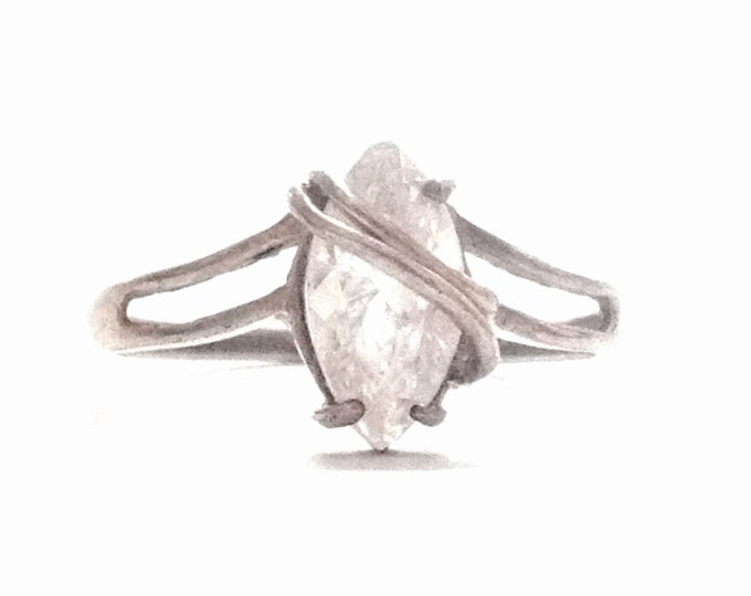 An Incredible 1940-50's Art Deco Solitaire Marquise Cut cz White Diamond / Sterling Ring, USA Ring Size 9.75, 2.67 Grams #3336