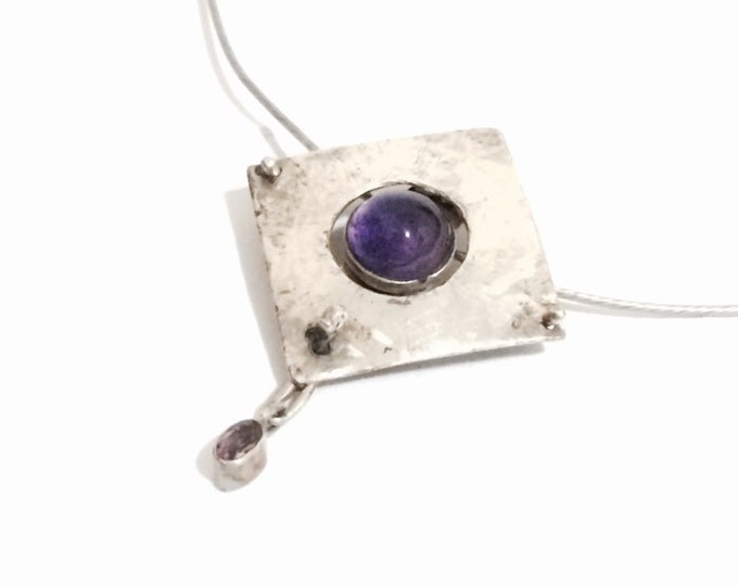 "J. Adelson Handmade Amethyst Pendant / Sterling Silver on a 17"" Steel Screw-Catch Chain Necklace, 8.5 Grams, Pendant: 2x1.5x.25"" #4148"