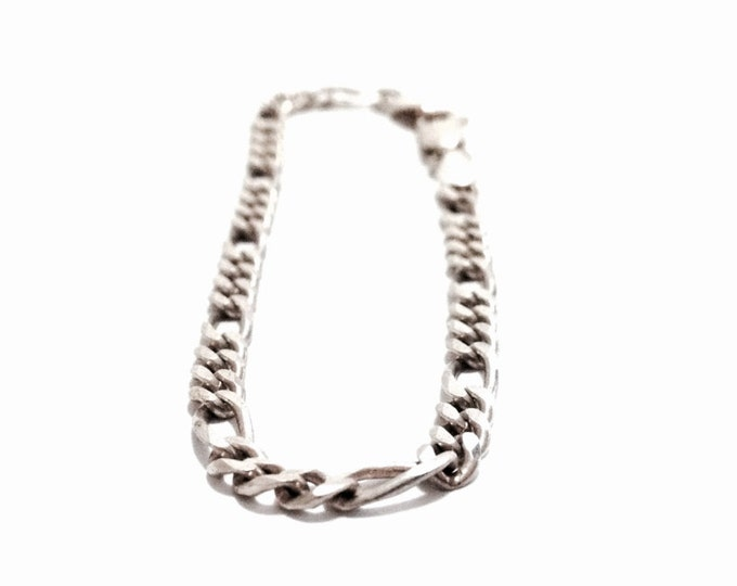 """A Sublime 7"""" Mid-Century Italian Figarucci Chain Bracelet / Sterling Silver, Spring Clasp, 4.50 Grams #3683"""