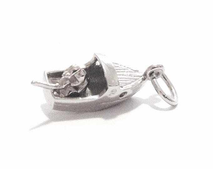 """A Detailed 1960-70's Fisherman in a Boat Charm-Pendant / Sterling Silver .25x.75x.25"""", 2.07 Grams #3345"""