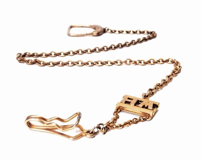 "An Elegant 18"" Mid Century Designer Swank 22KT gp Brass Mono. ""HM"" Pocket Watch Fob - Key Chain, 23 Grams #4083"
