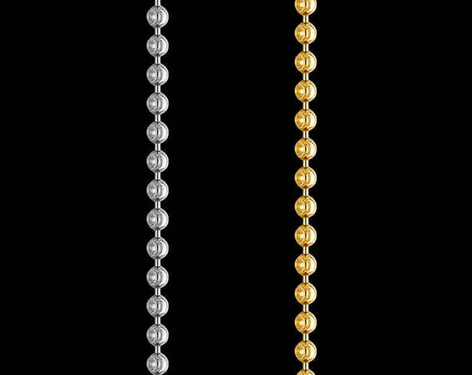 Bead link chain necklace in 14k yellow or white gold, 1.50mm, lobster claw clasp; 16, 18, 20, or 22 inches.
