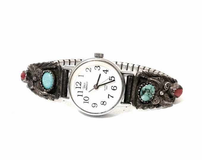 """An Impressive 1930's Navajo Native American-Speidel Red Coral & Turqouise Watch Band/Sterling, (needs battery), 3x.5x.25"""", 25 Grams #3942"""