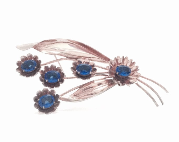 """A Magnificent Early 1910's Handmade Art Nouveau Blue Zircon Embossed Brooch-Pin / Sterling Silver, 4x2x.5"""", 24.90 Grams #3679"""