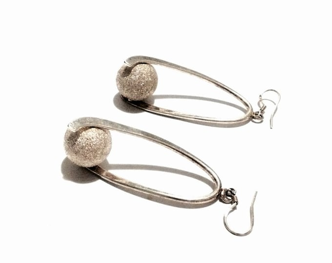 "A Pair of Elegant Mid-Century Art Nouveau Sparkly Spinning Ball Drop Threader Earrings / Sterling Silver, 2x1x1"", 8.9 Grams #4075"