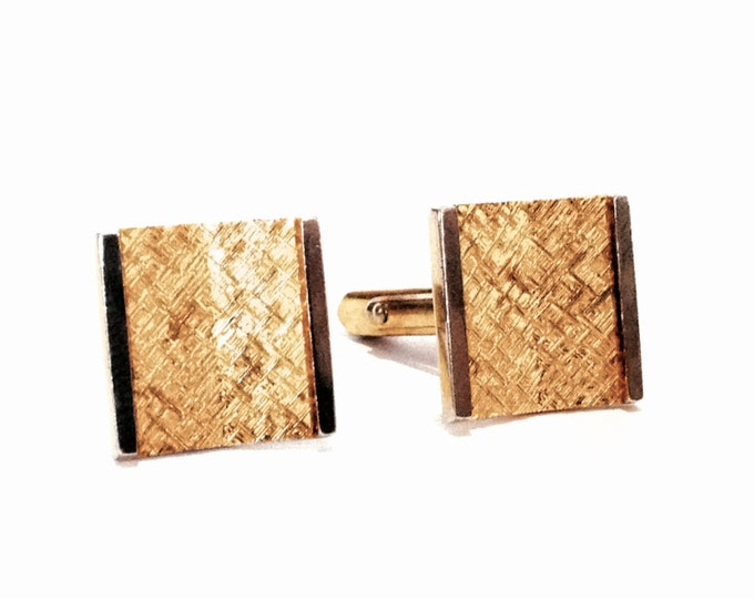 "A Pair of Heavy Mid-Century 24K gp Square Hammered Cufflinks / Sterling Silver, .75x.6x1"". 15.27 Grams #3677"