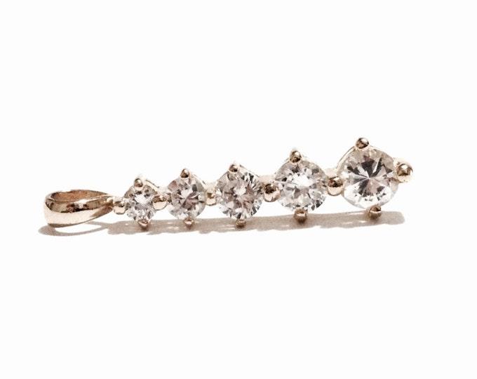 "An Incredible 24K gp Mid Centurury Five Brilliant Cut cz Diamond Embossed Pendant / Sterling Silver, 1.1x.25x.23"", 2.01 Grams #3246"