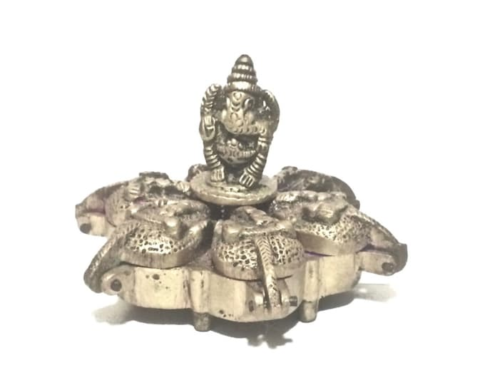 A Mid 19th C. Lord Ganesha Indian Antique Handcrafted Brass Kum Kum Powder (6 Section) Spiritual Hindu Tika Box  #4158