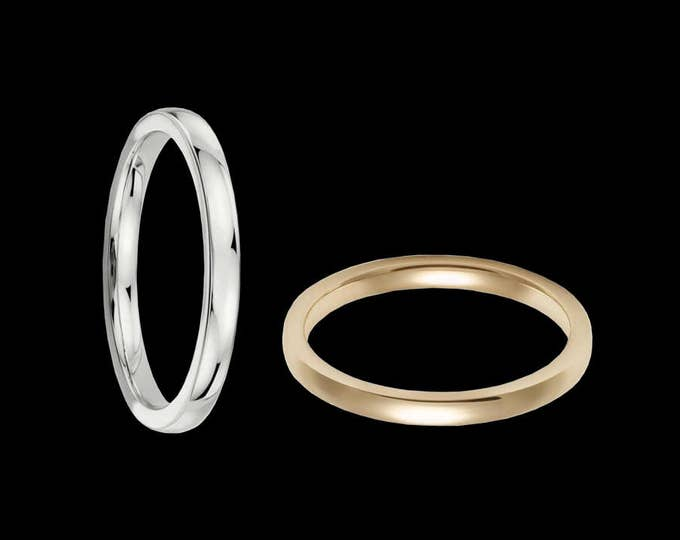 A Slender 2MM Reflection Band in White or Yellow Solid 14K Gold