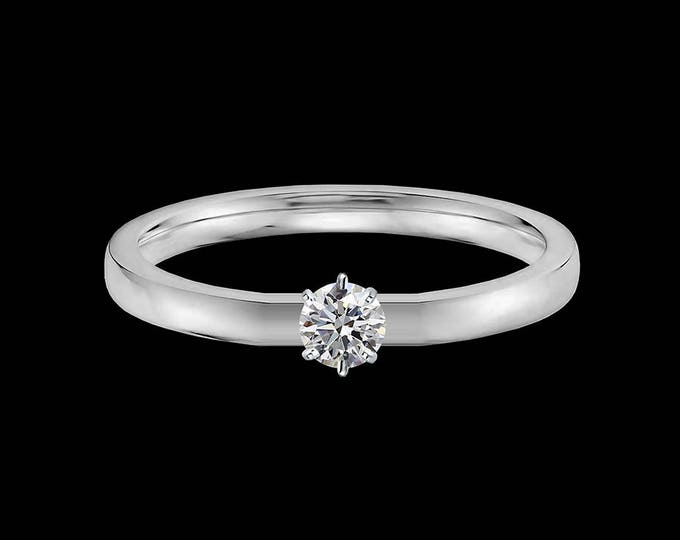 Lewi's 1/4 carat GIA certified diamond engagement ring in 14k white gold.