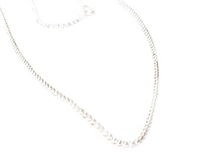 """A 14K White Gold Elegant Ball-Bead Chain Necklace, (1mm) - w/ A Spring-Ring Clasp, (18, 24) """" #C66"""