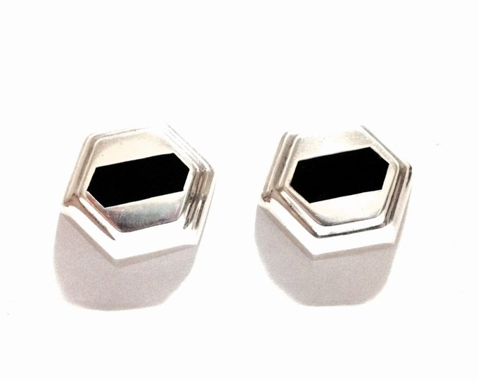"""A Pair of Mid-Century Southwestern Onyx Embossed Pentagon Clip-On Earrings / Sterling Silver, 1.25x1.25x.4"""", 25.22 Grams #3680"""
