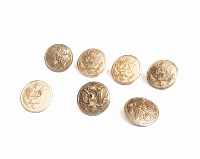 "A Lot of (x7) USA Army Coat of Arms Miltary Brass Unifrm Buttons, .75x.6"" Each, 3.90 Grams Each #4122"
