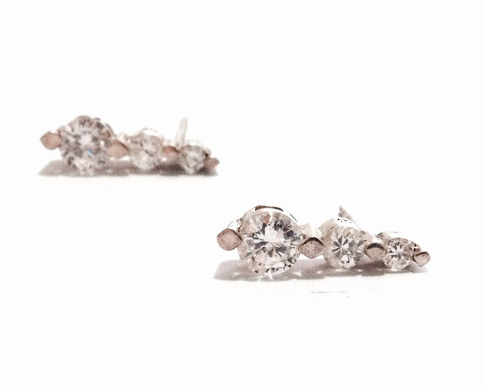 "A Pair of Triplet Brilliant Cut cz White Sapphire Stone Drop-Stud Earrings / Sterling, w/ Butterfly Backs, .75x.5x.25"", 2.97 Grams #3369"
