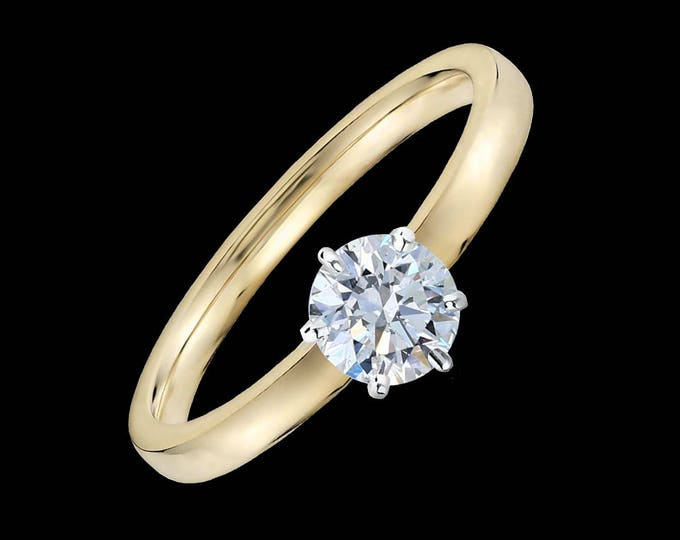 Diamond Engagement Ring / Lewi's 1/2 carat GIA certified diamond engagement ring in 18k yellow gold and 950 platinum prongs.
