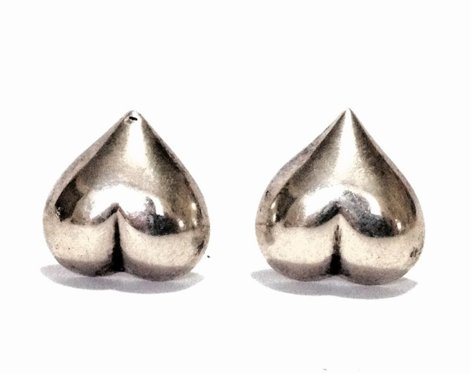 "A Pair of Elegant Mid-Century Heart Stud Earrings / Sterling Silver w/ Butterfly Backs, .6x.6x.25"". 2.60 Grams #4069"