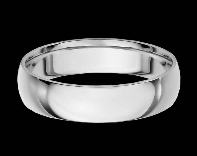 A 5MM Sleek 14K Bold Reflection Band in White or Yellow Gold #C96
