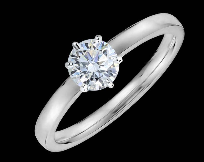 Lewi's 1/2 carat GIA certified diamond engagement ring in 950 platinum.
