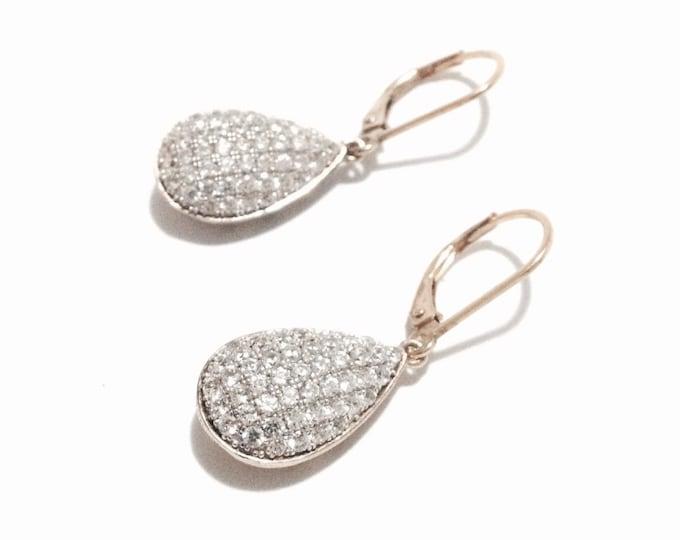 """A Pair of Ornate cz Diamond Embossed Hollowed 24K gp Teardop Threader Earrings / Sterling Silver, 1x.5x.25"""", 4.76 Grams #3381"""
