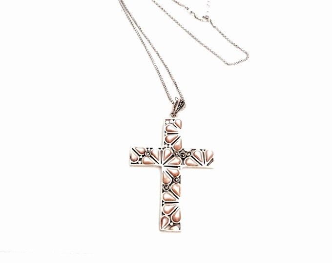"Designer Thai D.P. Sterling Silver, Marcasite & Pink Jasper Embossed Cross/Crucafix On an 18"" Silver Box Chain Necklace, 16.64 Grams #2962"
