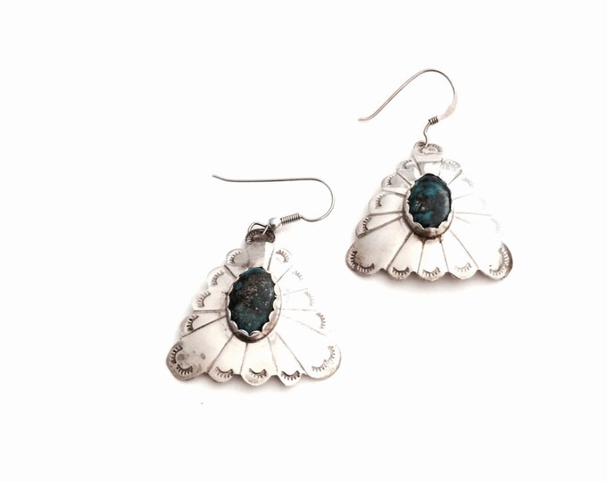 """Pair of Native American Designer Signed Tweet Handcrafted Sterling Silver & Turqouise Threader Earrings, 1.25x1x.25"""" Each, 7.48 Grams #2935"""