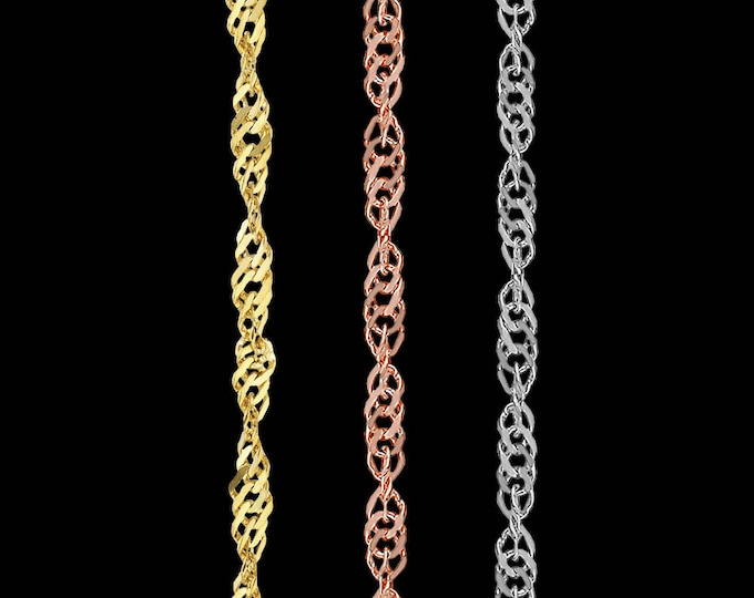 Twisted diamond link chain necklace in 10k yellow, white, or rose gold, 0.85mm, spring ring clasp; 14, 16, 18 or 20 inches.