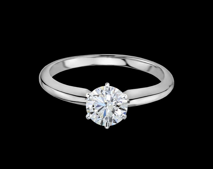 Lewi's classic 1ct six prong solitaire engagement ring in 14k white gold