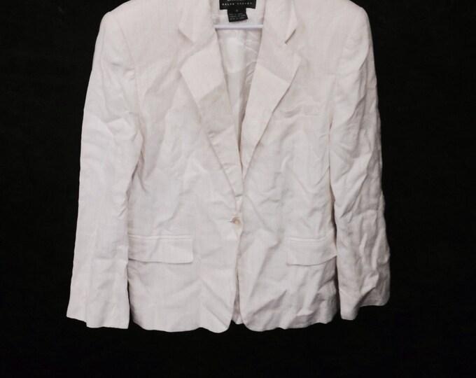 White and Blue Pinstripe Blazer, Ralph Lauren White Linen Pinstripe Blazer, size 8, #2316