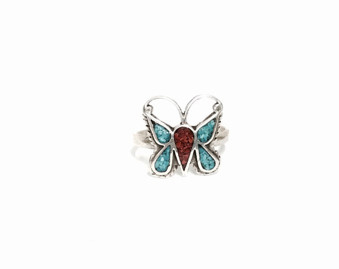 Native American - Southwestern Sterling Silver Butterfly, Red Coral & Turqouise Inlaid Ring, USA Ring Size 8, 3.03 Grams #3031