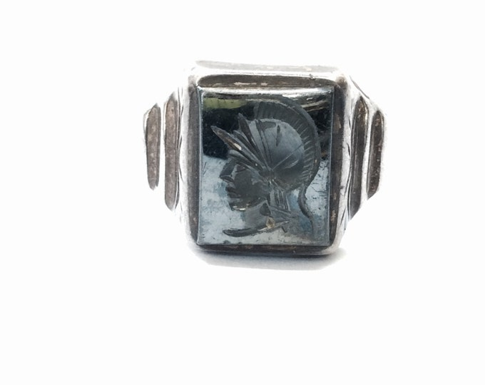 One of A Kind Mid-19th Century Sterling Silver Greco-Roman Handcarved-Onyx (Family) Seal Solitaire Ring, USA Ring Size 9.5, 8.06 Grams #3003