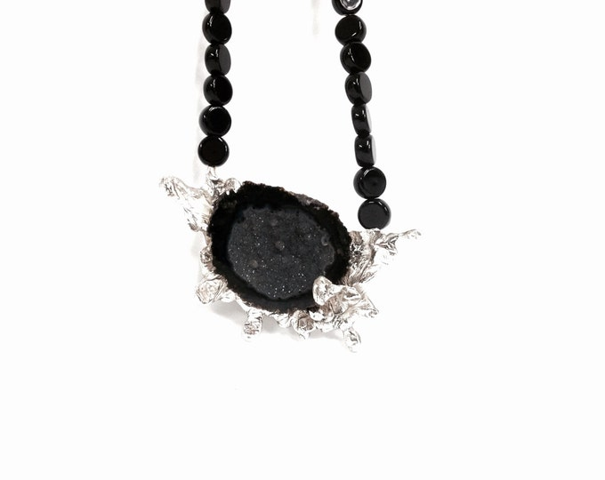 "Druzy Stone Set in Onyx Beaded Necklace, Magnetic Clasp, Handcrafted By Jeanette Adelson, Chain 16.5"", Pendant 3x1.75x.45"", #2328"