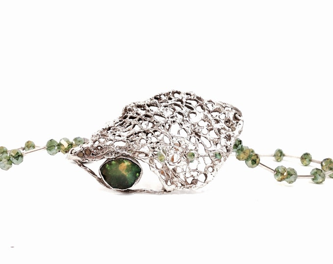"J. Adelson Green Fire Opal & Sterling Silver Pendant - Beaded Green Crystal Necklace With A Magnetic Closure, 17"" Chain, 2.5x1.5x.25"" #2327"