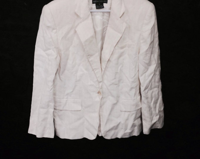 Elegant White Linen Blouse, Jones New York White Linen Blouse size 4, #2307