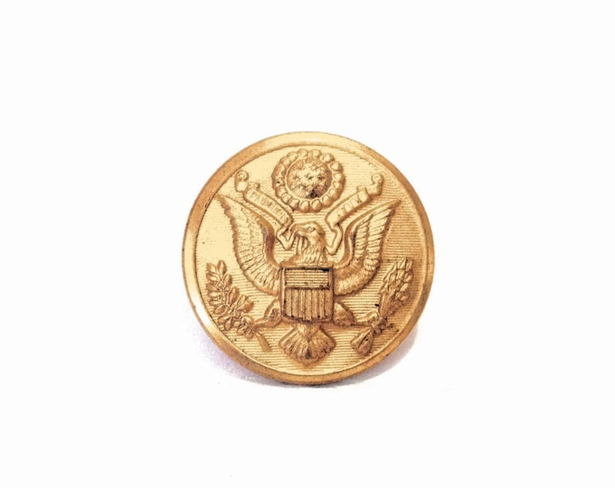 """A Mid Century Century Scovill MF'G CO. Waterbury USA Army General Staff Brass Coat of Arms Button, 1x1x.5"""", 4.18 Grams #4022"""