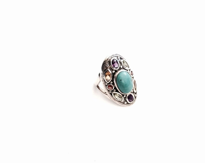 A 1960's Retro Sterling Silver - Turqouise & Semi-Precious Gemstone Paved Ring, USA Ring Size 7, 7.78 Grams #2937