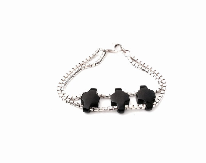 "A 1960's Art Nouveau 8"" Vintage Sterling Silver Box Chain & Onyx Beaded Bracelet, Spring Clasp, 20.05 Grams #2880"