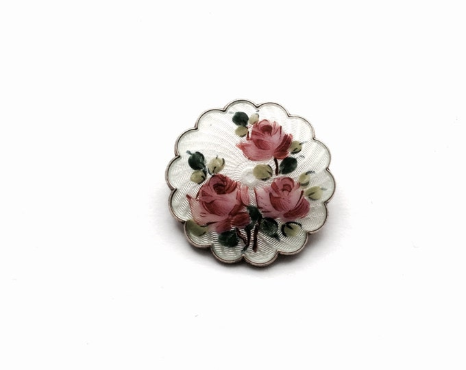 """A Mid 19th Century Victorian Hand-painted Enameled Sterling Silver Rose Brooch/Pin, 1.25x1.25x.20"""", 8.00 Grams #1389"""