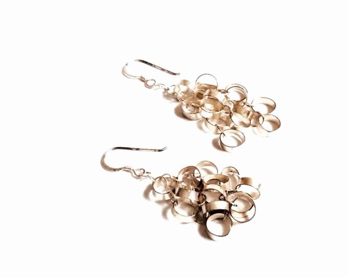 "A Pair of Art Nouveau Handmade Sterling Silver Dangling Statement Earrings, 2x1x.25"", 6.71Grams, #2694"