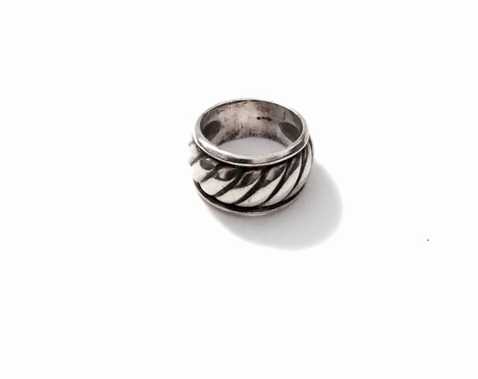 Art Nouveau Handmade Antique Sterling Silver Ring, USA Size 6.5, 8.77Grams, #2594