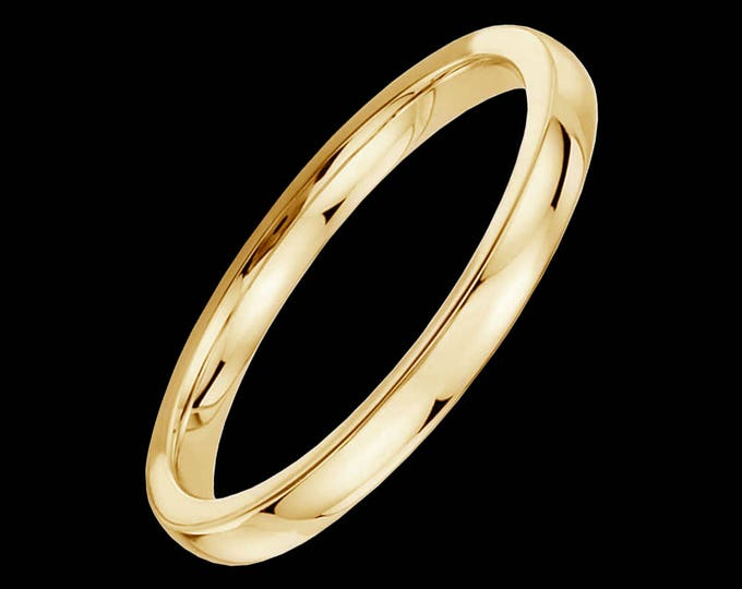 Comfort fit polished wedding band in 14k yellow or white gold, 2.0mm.
