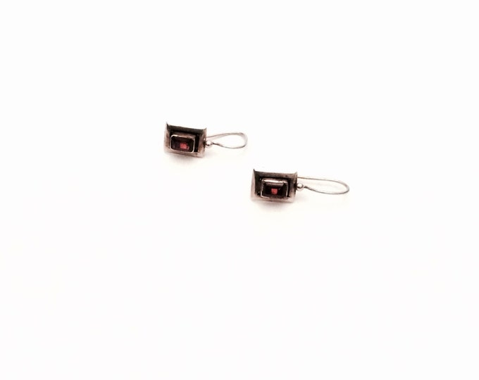 "A Pair of Art-Deco Sterling Silver & Ruby Drop-Hook Earrings C.1910-1925,  1x.5x.25""Each, 2.24Grams, #2761"