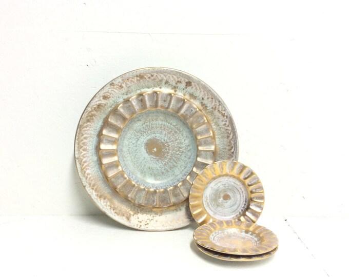 Rare Stangl Pottery Trenton NJ Set of 1 Large 4026 Patent Pending Ashtray & 3 VII Ashtrays - Blue hand-painted brushed w/ 22k gold #2049